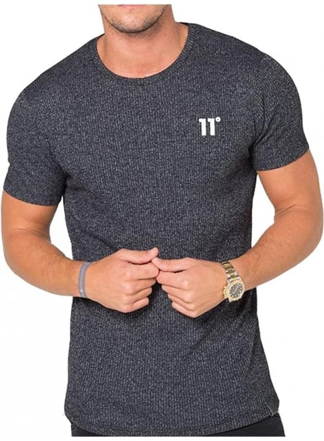 11 DEGREES Composite Ribbed Crew Neck Tshirt Black