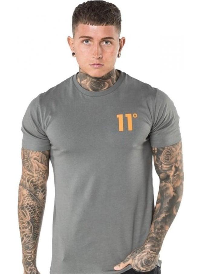 11 DEGREES Contrast Logo Tshirt Dark Grey/orange
