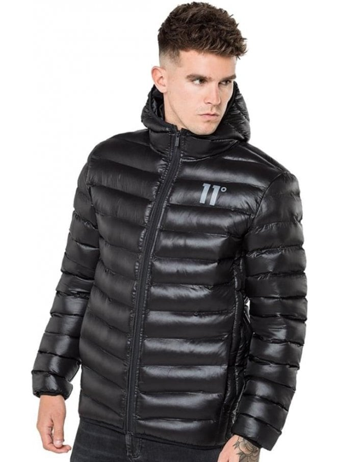 11 DEGREES Space Puffa Hooded Jacket Black