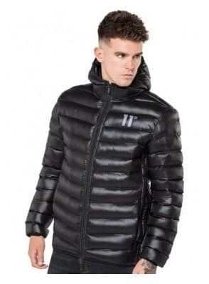 Space Puffa Hooded Jacket Black