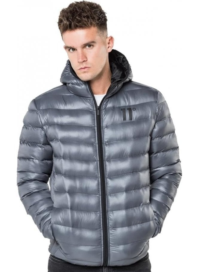 11 DEGREES Space Puffa Hooded Jacket Charcoal