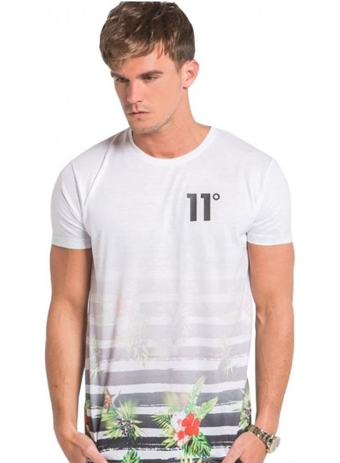 11 DEGREES Sub Faded Floral Stripe Tshirt White