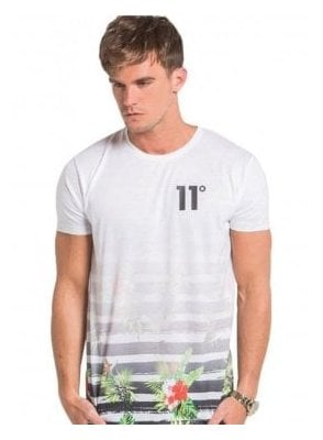 Sub Faded Floral Stripe Tshirt White