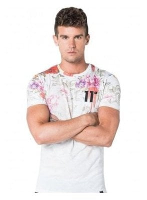 Sub Floral Design Printed Tshirt White Dripping Floral