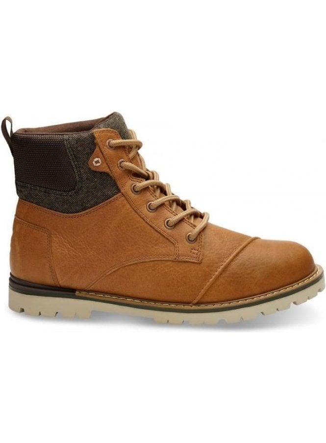TOMS Ashland Waterproof Leather Brushed Wool Boot Dark Toffee