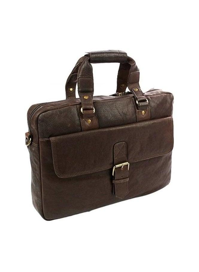 ASHWOOD Messenger Laptop Brief Case Leather Bag Brown