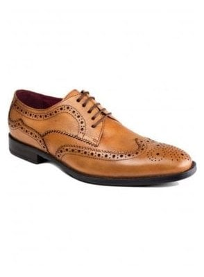 Lugano Tan Leather Brogue Shoe