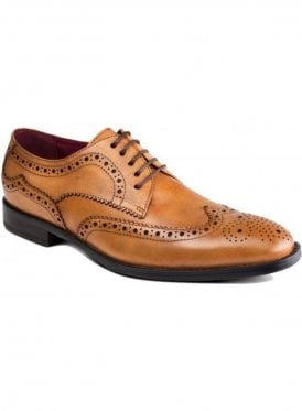 Lugano Tan Leather Brogue Shoe