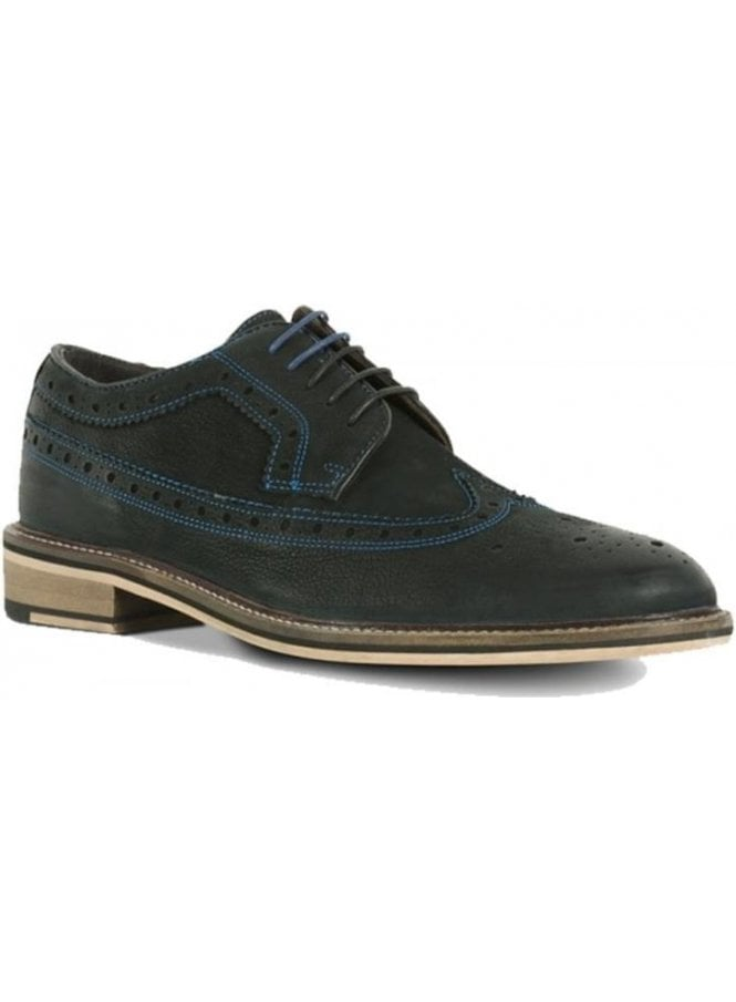AZOR Mens Black Leather Brogue Blue Stitch Detail Black Shoe