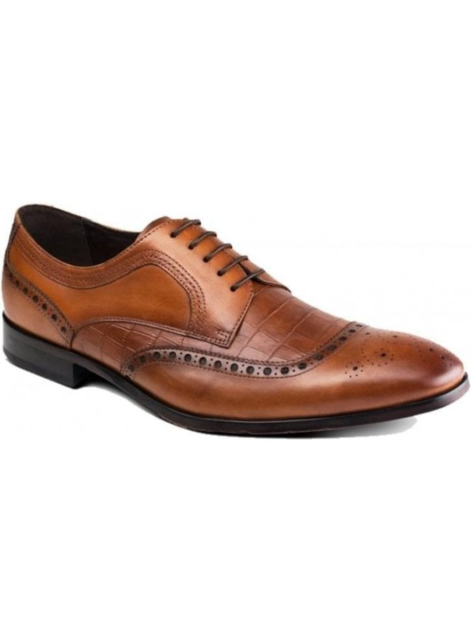 AZOR Mens Leather Smart Casual Derby Brogue Shoe Tan Brown