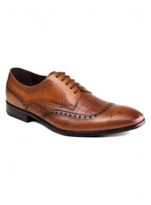 Mens Leather Smart Casual Derby Brogue Shoe Tan Brown