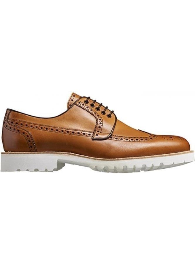 BARKER Leather Brogue Vi-lite With White Sole Tan Made in England