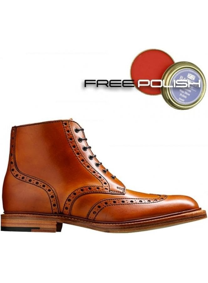 BARKER Leather Sole Brogue Boot Cedar Calf Made in England