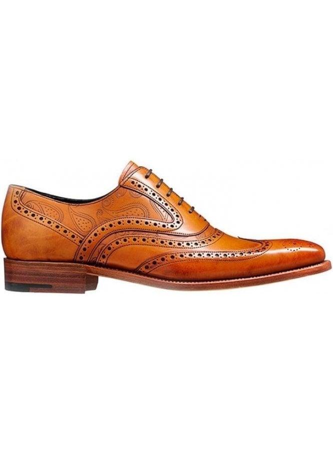 BARKER Mcclean Leather Brogue Shoe Cedar Calf/paisley Lazer Made in England