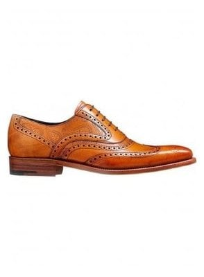 Mcclean Leather Brogue Shoe Cedar Calf/paisley Lazer Made in England