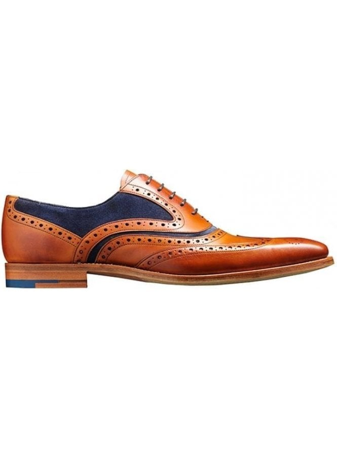 BARKER Mcclean Leather Suede Brogue Shoe Cedar Calf/navy Suede Made in England