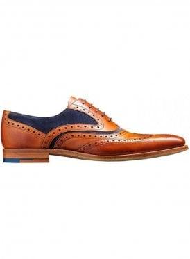 Mcclean Leather Suede Brogue Shoe Cedar Calf/navy Suede Made in England