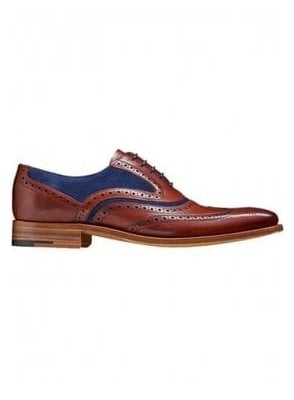 Mcclean Leather Suede Brogue Shoe Rosewood Calf/navy Suede