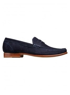 William A Lockstitch Moccasin Loafer Leathe Dark Navy Suede