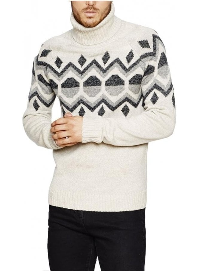 BELLFIELD Kilbreck Geo Jacquard Roll Neck Jumper Grey