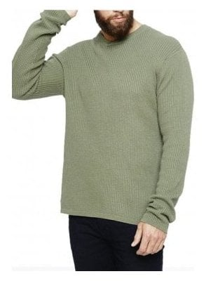 Mowbray V Neck Rib Cross Neck Jumper Khaki