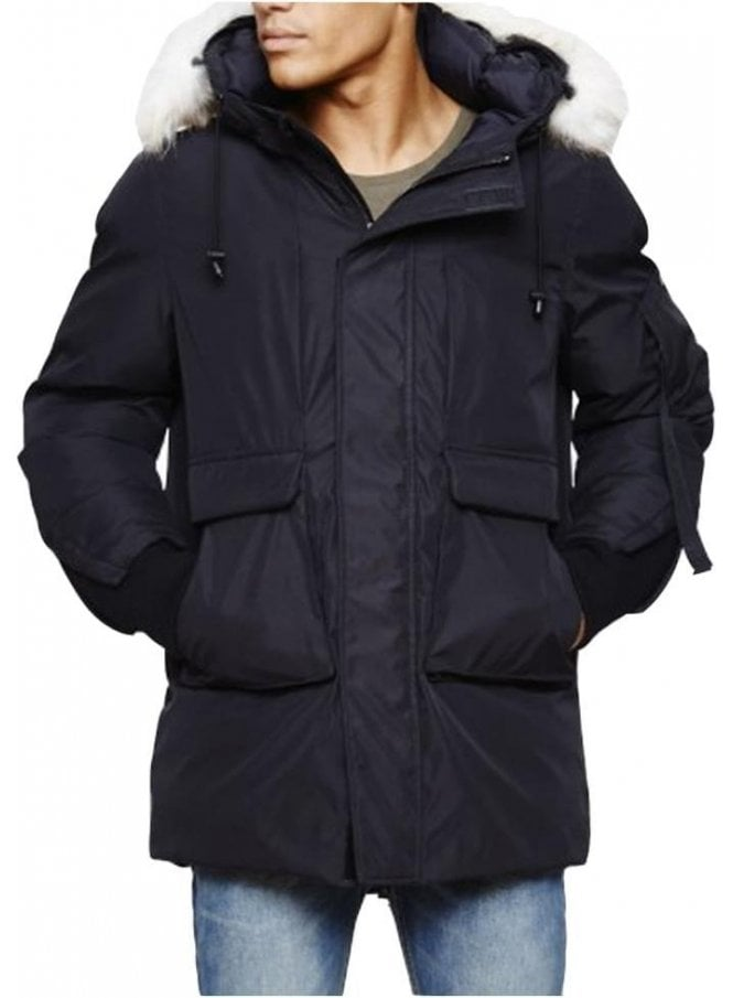 BELLFIELD Optimus Parka With Fur Trim Collar Coat Black