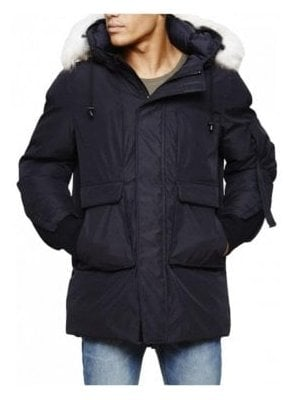 Optimus Parka With Fur Trim Collar Coat Black