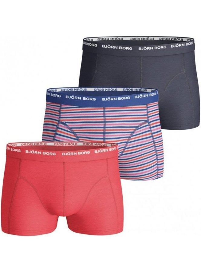 BJORN BORG Three Pack Boxer Shorts 3 To Go Multi Coral Navy