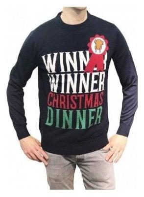 Mens Winner Winner Christmas Dinner - French Navy
