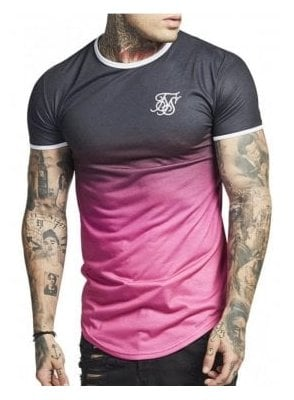 Contrast Polyfade Gym Tee Black Pink Fade