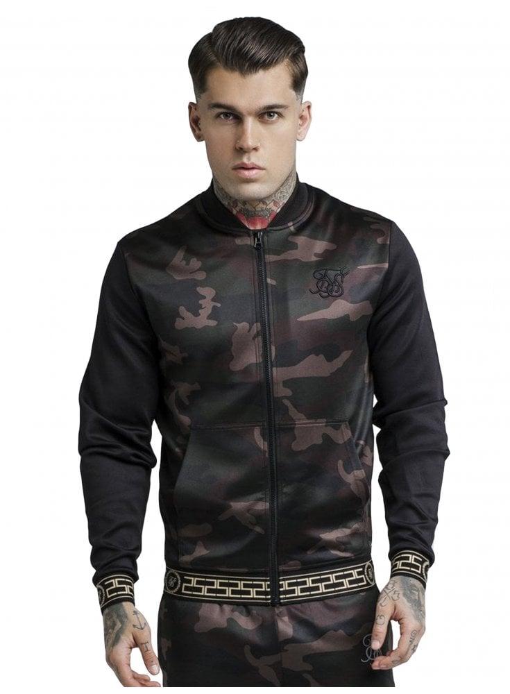 Contrast Sleeve Camo Poly Bomber - Black & Camo - Designer ...