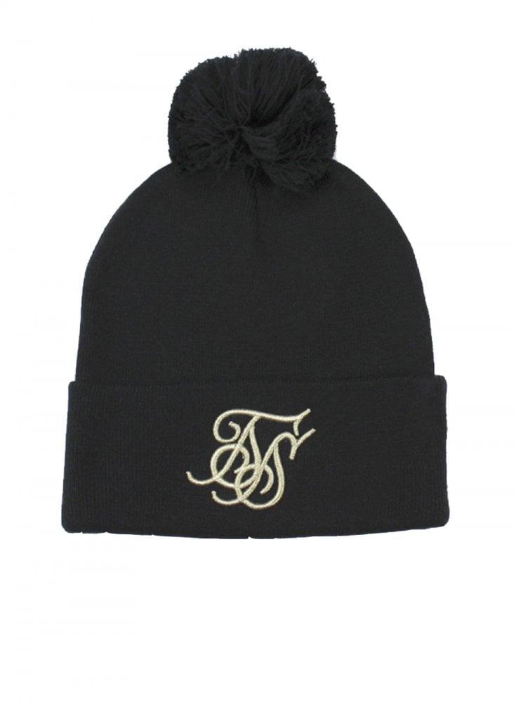 239ad53f0 Cuff Knit Bobble Hat - Black & Gold