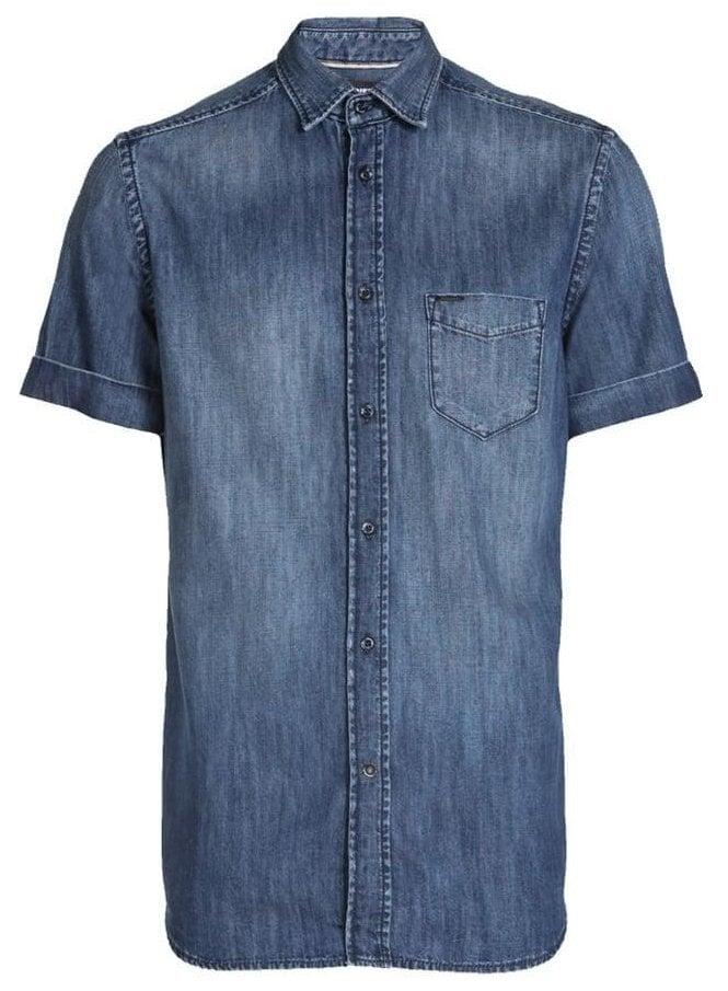 DIESEL D-kendall S/s Denim Shirt Denim Blue