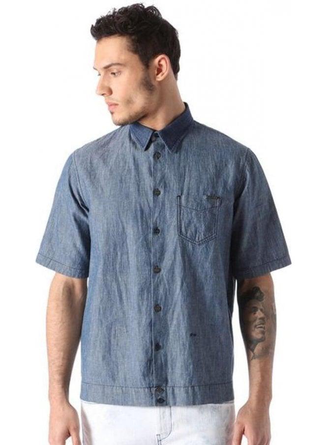 DIESEL D-mak-poc S/s Denim Shirt Denim