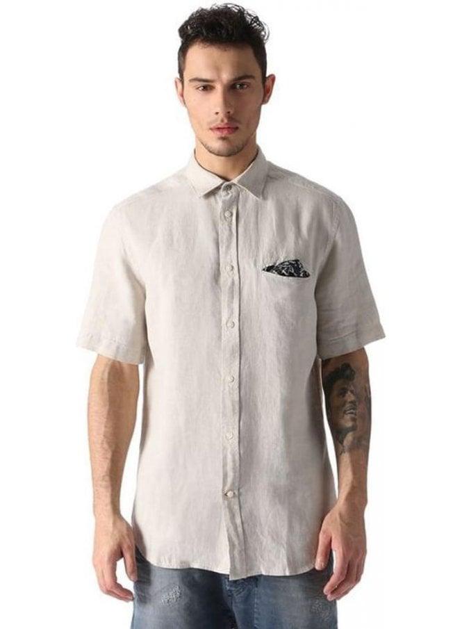 DIESEL S-emiko S/s Linen Pocket Detail Shirt Beige