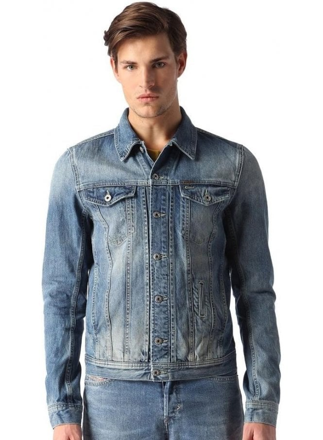 DIESEL Elshar Pocket Detail Denim Jacket Stonewash