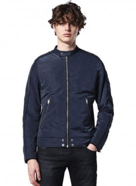 J-quad Zip Detail Pocket Biker Jacket Navy