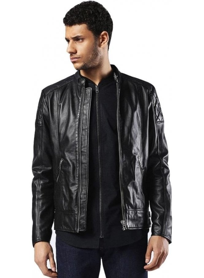 DIESEL L-marton Biker Style Zip Detail Leather Jacket Black