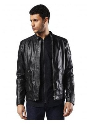 L-marton Biker Style Zip Detail Leather Jacket Black