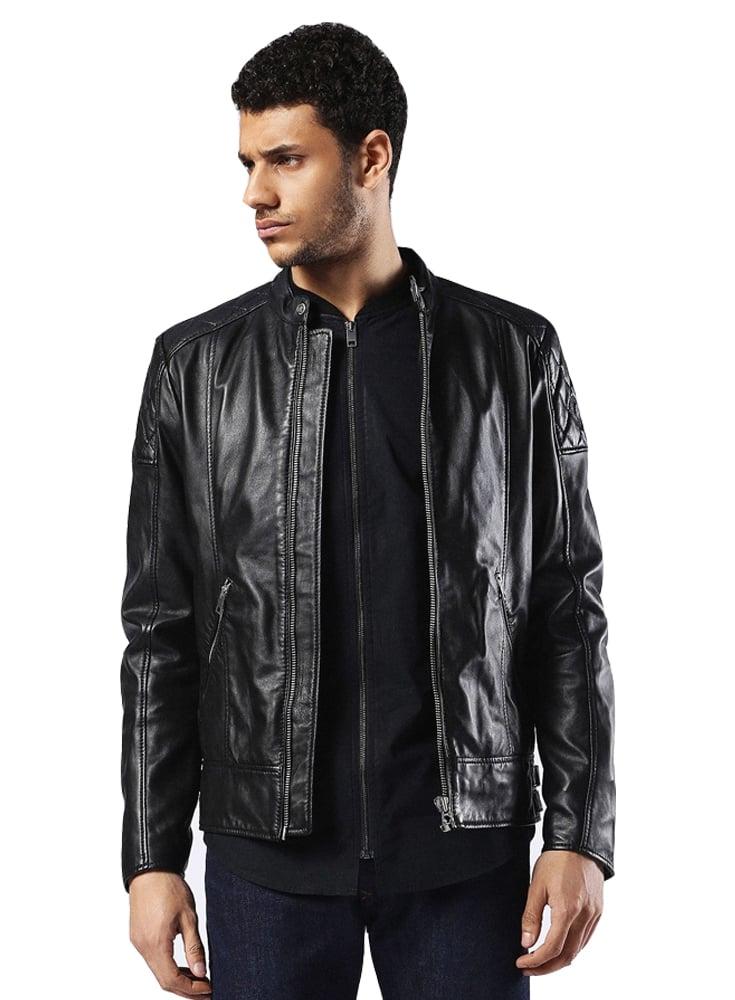 Diesel L-marton Biker Style Zip Detail Leather Jacket Black