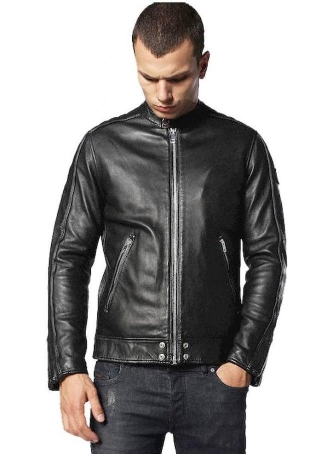 DIESEL L-quad 100% Leather Biker Style Jacket Black