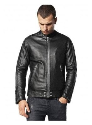 L-quad 100% Leather Biker Style Jacket Black