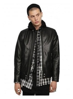 L-SHIRO-WH-Panelled Nappa Biker Jacket - Black