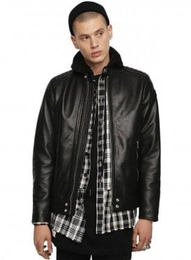 L-SHIRO-WH-Panelled Nappa Biker Jacket - Black