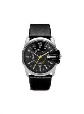 Round Face Leather Strap Black