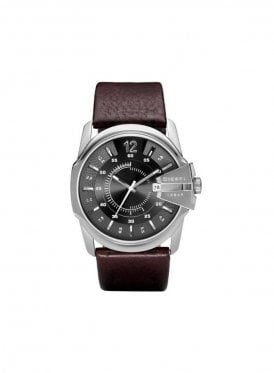 Round Face Leather Strap Brown