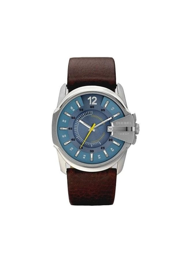 DIESEL Round Face Leather Strap Brown