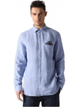 S-asak Long Sleeve Linen Pocket Detail Shir Blue
