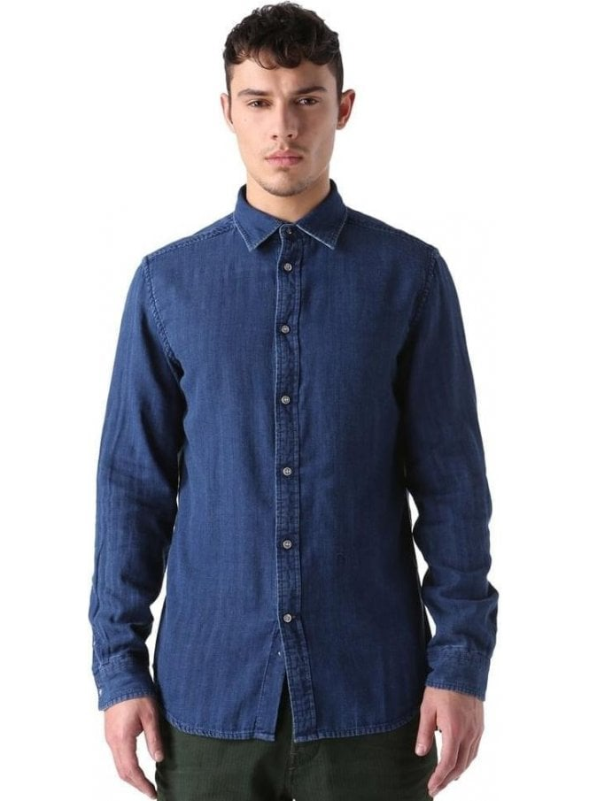 DIESEL S-cramberries Long Sleeved Shirt Denim Blue