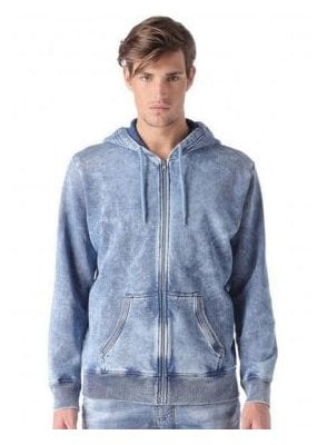 S-diego-ad Enzyme Wash Denim Design Zip Hoo Denim Blue